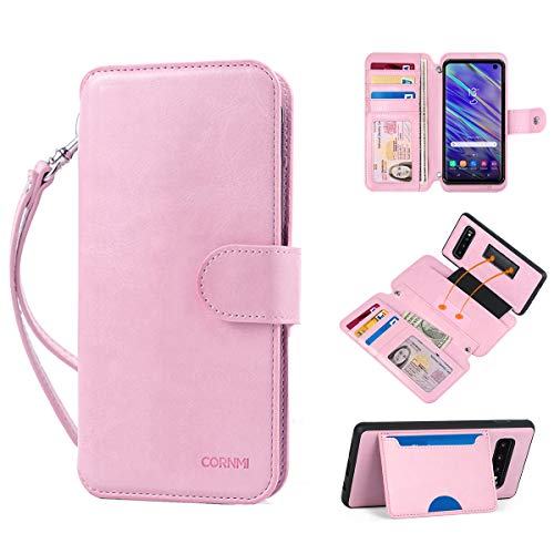 Samsung Galaxy S10 Wallet Case, CORNMI Leather Note 9 Phone Case Wallet Detachable Folio Purse with Card Slots Wrist Strap Zipper Kickstand Magnetic Closure Compatible for Samsung Galaxy S10(Pink) ()