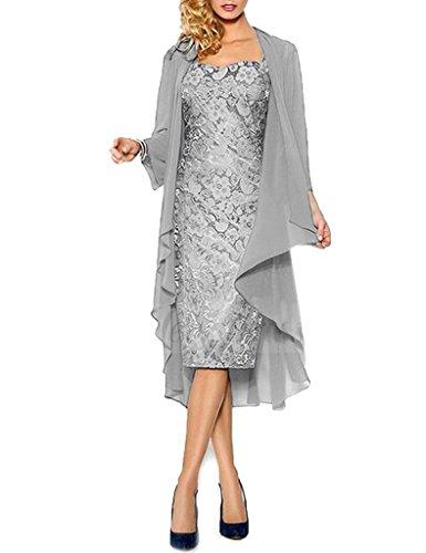 Kurze Chiffon Spitze Silber Jacke Kleider HWAN Braut Mutter mit der Kleider Wraps formale wpWXOqz