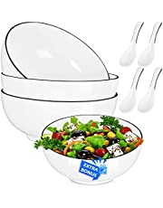 AnBnCn Porcelain Salad Bowl Soup Bowls 3-Pack Big Large Stackable ,White