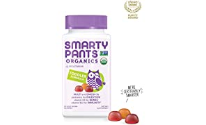 Daily Organic Gummy Toddler Multivitamin: Biotin, Vitamin C, D3, E, B12, A, Omega 3, Zinc, Selenium, Niacin, Iodine, Choline, Methylfolate, Thiamine by SmartyPants (60 Count, 30 Day Supply)