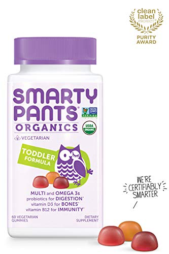 Daily Organic Gummy Toddler Multivitamin: Biotin, Vitamin C, D3, E, B12, A, Omega 3, Zinc, Selenium, Niacin, Iodine, Choline, Methylfolate, Thiamine by SmartyPants (60 Count, 30 Day Supply)