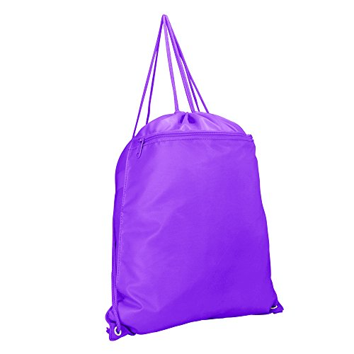 DALIX Drawstring Backpack Sack Bag (Red, Blue, Black, Yellow, Pink, Navy) (Purple)