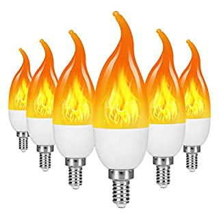 TOMTOO LED Flame Effect Light Bulb, 4 Modes Flame Lights Bulbs, E26 Base Fire Light Bulbs with Gravity Sensor, Christmas Decorations Flickering Light Bulb for Indoor/Outdoor/Home/Party Decor(6 Pack)