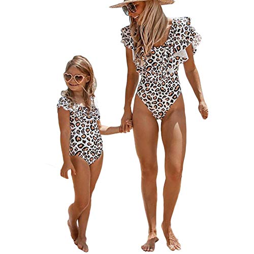 Mommy and Me Swimsuit One Piece Leopard Ruffle Bathing Suit Family Matching Swimwear Monokini (Mom XL)