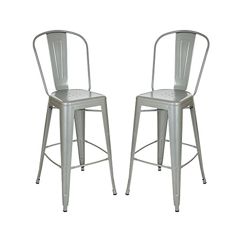 Glitzhome Vintage Metal Counter Bar Stools Silver, Set Of Two (Leather Chair Sale Club Red)