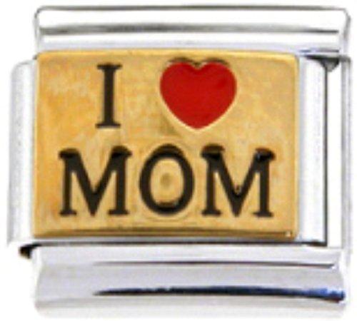 Stylysh Charms Mother I Love MOM Enamel Italian 9mm Link FA030
