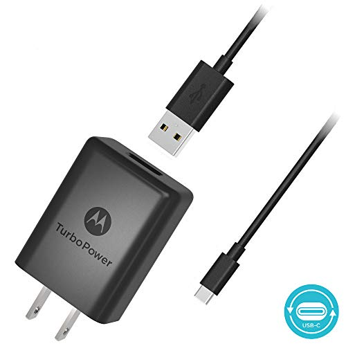 (Motorola SPN5970A TurboPower 15+ QC3.0 Wall Charger with 3.3 Foot USB-C Cable for Moto X4, Z2 Force/Play, Z3, Z3 Play, G7, G7 Play, G7 Plus, G7 Power, G6, G6 Plus)