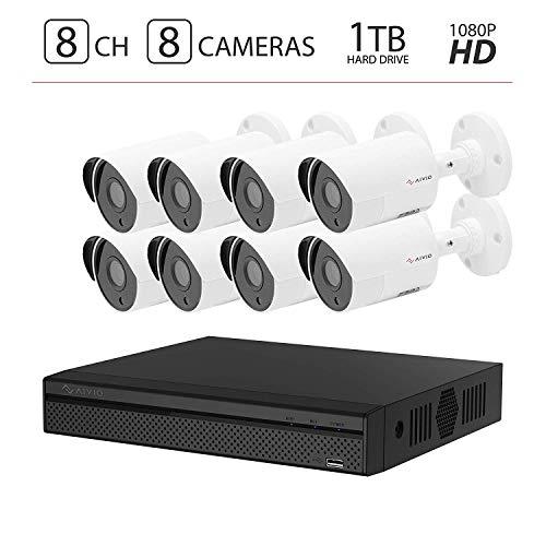 2019 Aivio/Dahua OEM 1080P 8CH Home Security Camera System 1TB Hard Drive, Surveillance DVR kit w/ 8X HD 2MP (1920TVL) HDCVI Outdoor IP67 Bullet Cameras 1T HDD (XVR5108HS-S2 & HAC-HFW1220S)