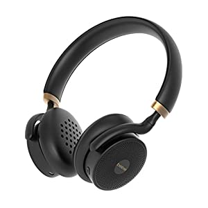 bebe Boom Wireless Designer Headphones for Women - Cordless On Ear Bluetooth Headphones with Mic and 18 Hour Playtime - Lightweight Over Ear Headphones Black and Gold - for iPhone Android Smartphone