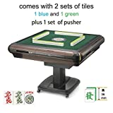 American Mahjong Automatic Mahjong Table with Wheels 4 Drawers Foldable Folding Style, Comes 2 Sets of 36mm Tiles (Blue & Green) and 1 Table Cover One Year Warranty Pushers Included