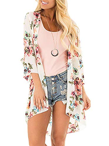 Women's Floral Print Puff Sleeve Kimono Cardigan Loose Cover Up Casual Blouse Tops (Medium, White)