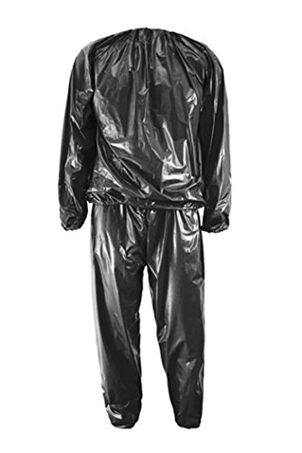 TOOGOO(R) Sauna Suit Heavy Duty Fitness Weight Loss Sweat Sauna Suit Exercise Gym Anti-Rip Black L