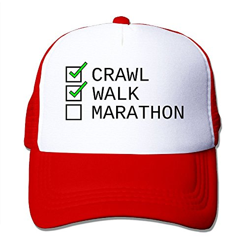 XiaoHans Momen Checklist Crawl, Walk, Marathon Funny Basketball Red Mesh Cap Adjustable Snapback