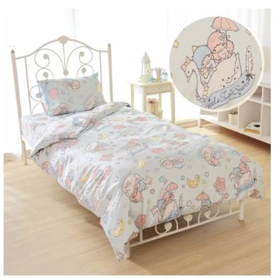 Little Twin Stars (SANRIO Kikirara Little Twin Stars duvet cover, sheets, pillow case blue three-piece set Japanese-style)