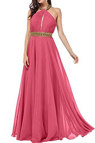 ivyd ressing Mujer a de línea Neck Holder con piedras gasa vestido de fiesta Prom vestido para vestido de noche Rosa