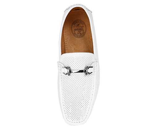 Driving Loafer Perforated Moccasin Driver Comfortable Casual Style Amali Smooth Nolan White Shoe Mens w8qATFXFR
