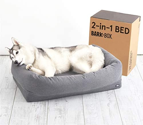 Barkbox 2-in-1 Memory Foam Dog Cuddler Bed Plush Orthopedic Joint Relief Crate Lounger or Donut Pillow Bed, Machine Washable Removable Cover Waterproof Lining Includes Toy
