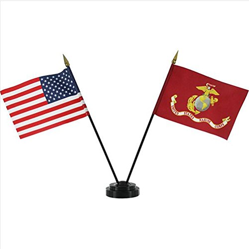 USMC Flag Desk Set - Marine Corps Flag and American Flag Table Display - Miniature US and Marine Flags Standing in Black Base ()