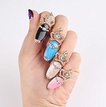Amazon 1pc Finger Nail Art Design Ring Fake Nails Crystal