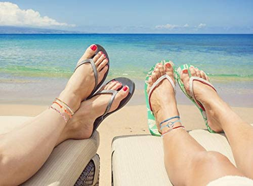 HUASAI Waterproof Anklet for Women String Surfer Rope Ankle Bracelets Set for Teen Girls