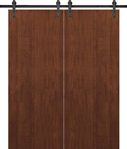 Sliding Double Barn Doors 72 x 80 | Planum 0010 Walnut Modena | 13FT Rails Hangers Stops Hardware Set | Modern Solid Panel Interior Door