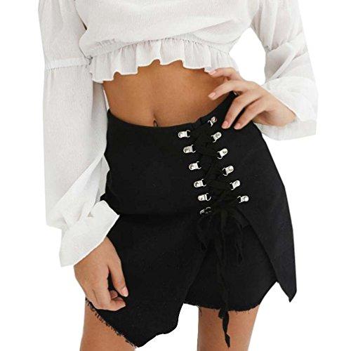 Sixcup Sexy A-Line Femme Jeans Denim Mini Jupe Jean Courte Taille Haute Solide Noir
