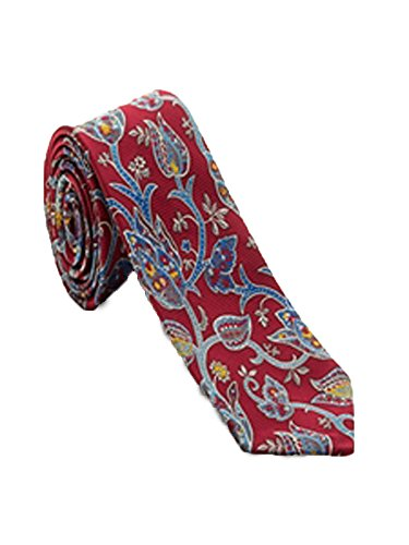 Robert Talbott Red with Blue Yellow Floral Print Arcimboldo Jacquard Seven Fold Tie ()