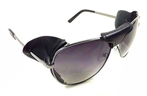 - Retro Aviator Sunglasses w/ Faux Leather Bridge & Side Shields (Gunmetal Frame - Black Leather, Black)