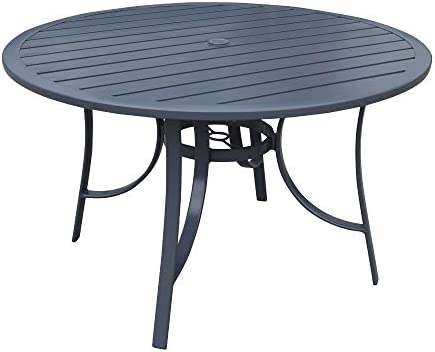 Courtyard Casual 5171 Santa Fe Collection 48″ Round Aluminum Alum Slat Top Dining Table
