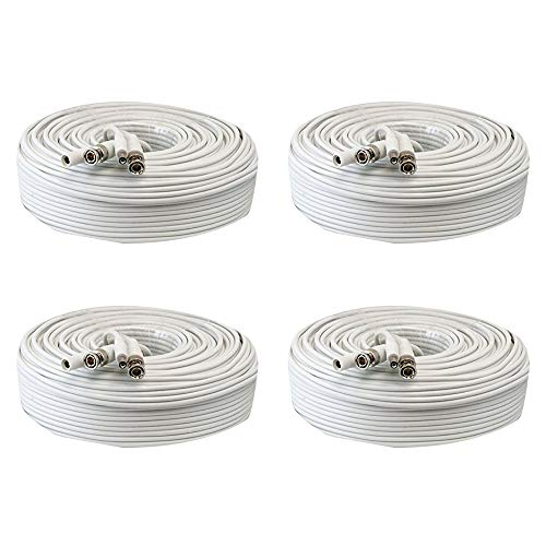 4 Pack 150ft RG59 Siamese Combo 20AWG Power Video Coaxial Cable BNC 75Ohm 95% Braid Wire Cord for HD-SDI, AHD, TVI, CVI All CCTV Security Cameras with BNC Connector and 2.1mm Power Jack (White)