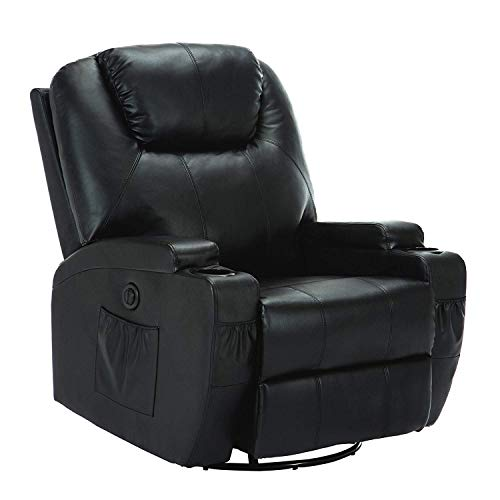 Mecor Massage Recliner Chair, Heated Electric Leather Recliner Living Room Lounge Sofa with Cup Holder 360 Swivel (Black)