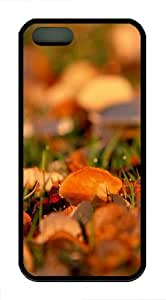 Red leaves close up TPU Silicone iPhone 5S/5 Case Back Cover - Black