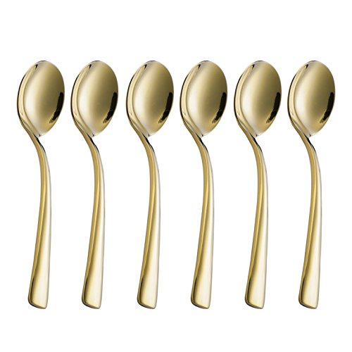 Onlycooker 6 Piece Gold Round Soup Spoon 6.3-inch Stainless Steel Bouillon Spoons Set for 6 Table Dinner Silverware Set Flatware Mirror Polished Dishwasher Safe