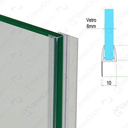 guarnizione box doccia trasparente con aletta morbida per vetro 6mm 2,20 mt