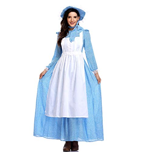 TINGSHOP Maid Costume, Blue Beauty and The Beast Belle Dress Anime Cosplay Costume Fancy Halloween Maid Dress Apron for Women Headwear Masquerade,Blue,M]()