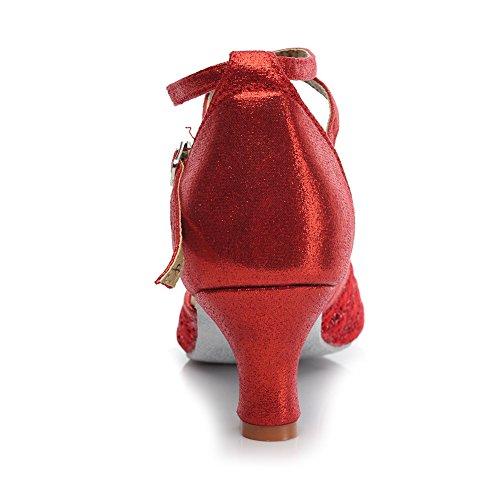 HROYL Mujer Zapatos de Baile Latino Cuero Cordón Salón de Baile 1802-6 Rojo