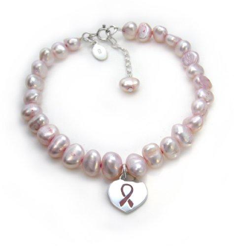 Sterling Silver Pink Ribbon Heart Charm Cultured Pearl Bracelet, Adjustable 7.5