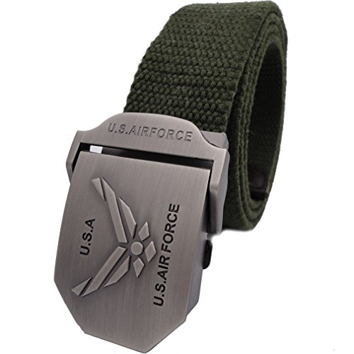 [Queyu Men's Tactical Canvas Cotton Belts US Army Air Force Belts Metal Buckle?up to 40