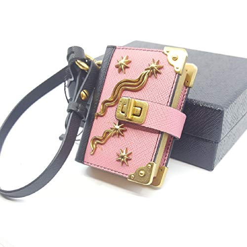 (Prada Trick Pelle Begonia and Nero Saffiano Leather Keychain Journal 1TL101)