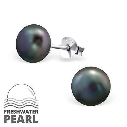 925 Sterling Silver Hypoallergenic 9mm Freshwater Tahitian Colored Pearl Stud Earrings 6928