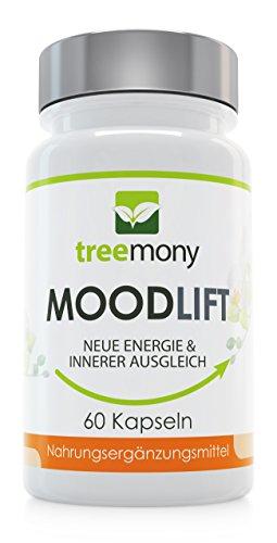 MoodLift | Pflanzlicher Stimmungsstabilisierer | Stimmungsaufheller | Für mehr Antrieb und inneren Ausgleich| Premium Produkt mit 5 HTP, Rosenwurz, Lavendel, Methionin & mehr | 60 Kapseln
