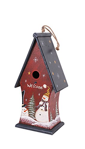 YK Decor Christmas Wood Holiday Hanpainted Birdhouse (Red) For Sale