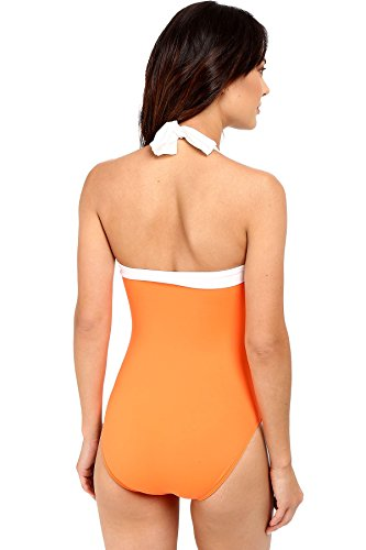 LAUREN Ralph Lauren Women's Bel Aire Solids Shirred Bandeau Mio Slimming Fit w/ Soft Cup Tangerine Swimsuit by Lauren by Ralph Lauren (Image #3)