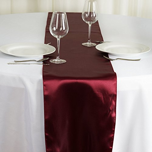 Satin Burgundy Overlay (BalsaCircle 10 pcs 12 x 108-Inch Burgundy Satin Table Top Runners - Wedding Party Event Reception Occasions Linens Decorations)