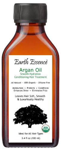 (Organic Argan Oil Hair Treatment 3.4 Fl Oz - All Natural Formula - Fragrance Free - Silicone Free - Conditions, Strengthens and Smoothes Hair - Eliminates Frizz - Soothes Dry, Itchy Scalp)