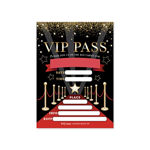 25 VIP Movie Night, Star Faux Glitter Ticket Party Invitation, Hollywood Rockstar Oscar Themed Kids Birthday Invite Ideas, Lanyard Red Carpet Theme Supplies, Boys or Girls Sleepover Bday Printed Cards -