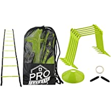 """Pro Footwork Agility Ladder and Hurdle Training Set with Carry Bag - Speed Training Exercise Practice for Soccer, Football & all Sports - Adjustable heights 6"""", 9"""" & 12"""""""
