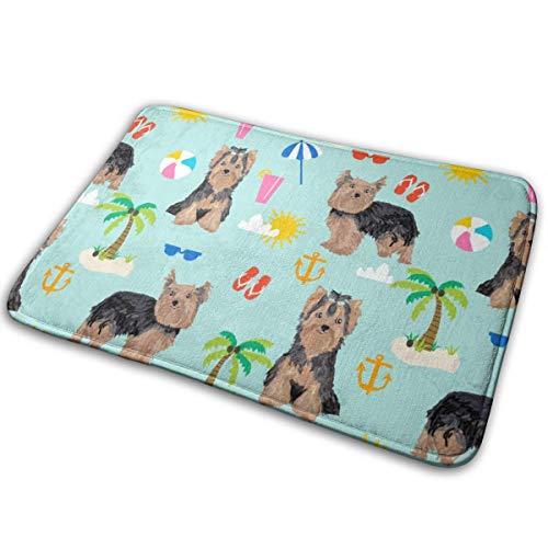 shirt home Yorkie Yorkshire Terrier Summer Beach Design Cute Dog - Light Blue_17001 Doormat Entrance Mat Floor Mat Rug Indoor/Outdoor/Front Door/Bathroom Mats Rubber Non Slip 23.6