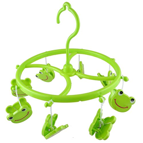 SODIAL(R) Green Plastic 8 Smile Frog Clips Round Shell Scarf Towel Gloves Hanging Clothes Peg