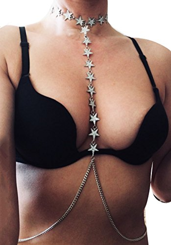 Mayfee Women Luxury Rhinestone Stars Bra Harness Bralette Body Chain Bikini Jewerly Body Choker Necklace (Silver) by Mayfee